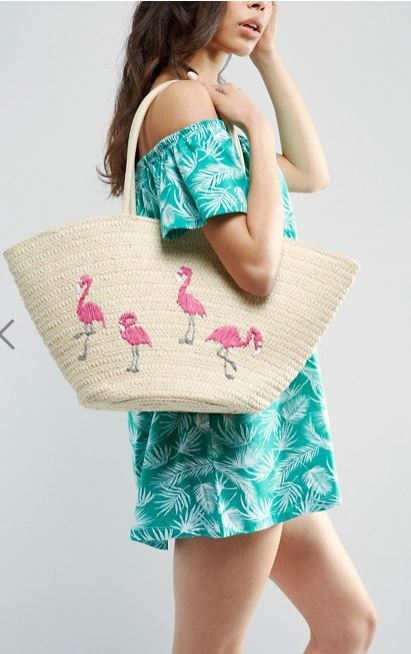 panier brodé flamingo asos