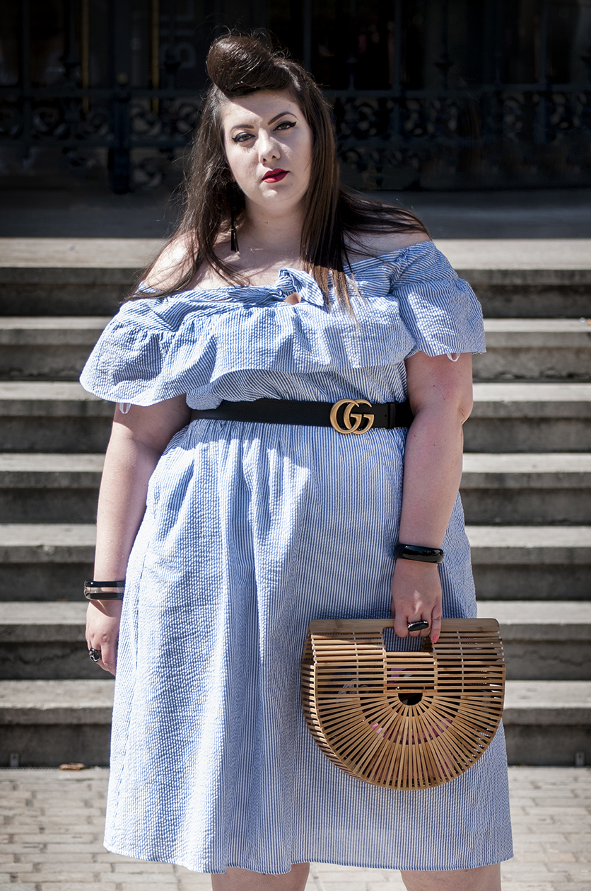 plus size dress eloquii bardot blogueuse grande taille