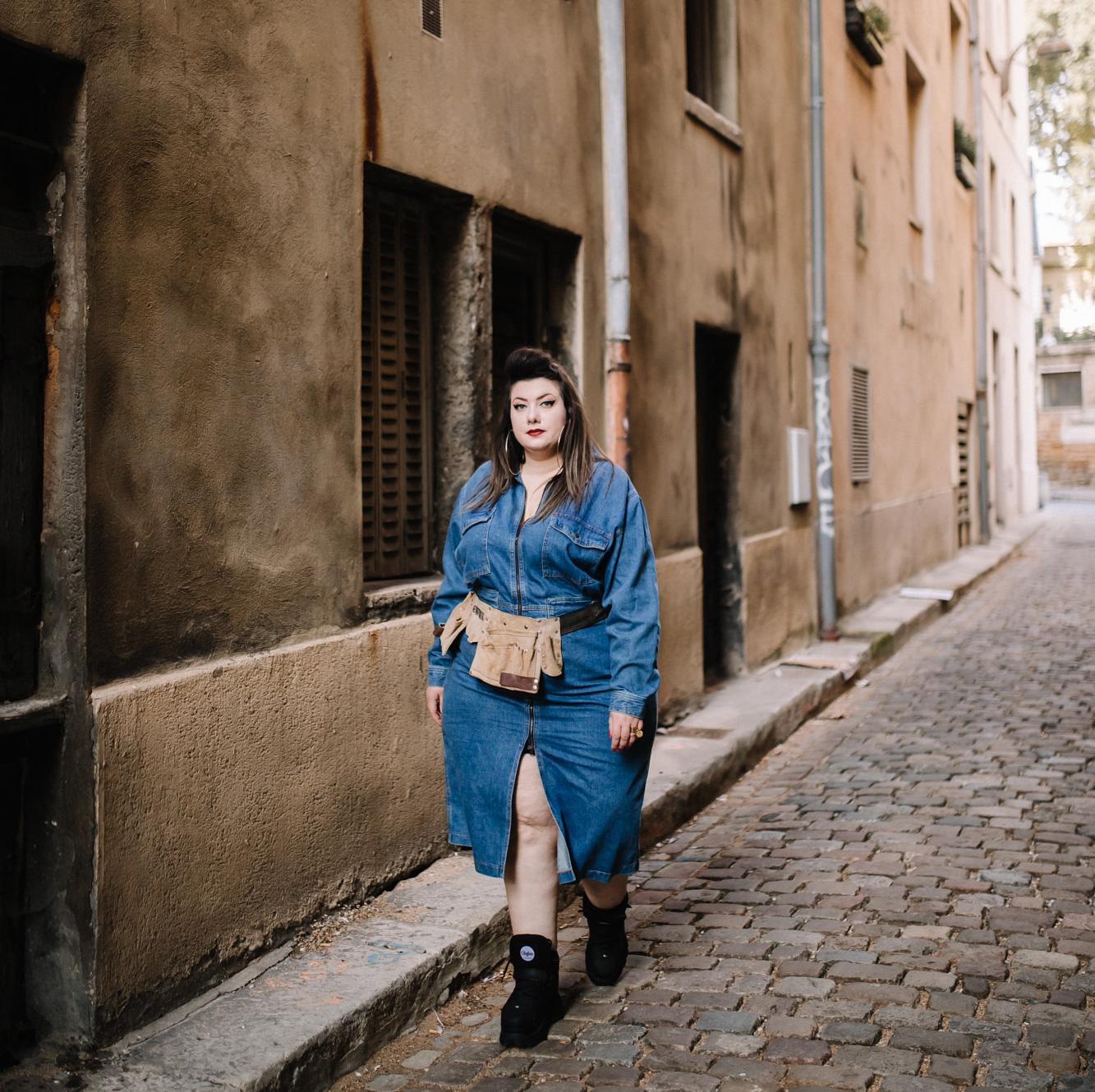 asos curve combinaison jeans grande taille plus size curvy girl fashion blogger garage