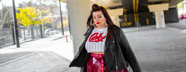 coke crop tee vinyle skirt navabi grande taille plus size retro pin up curvy girl