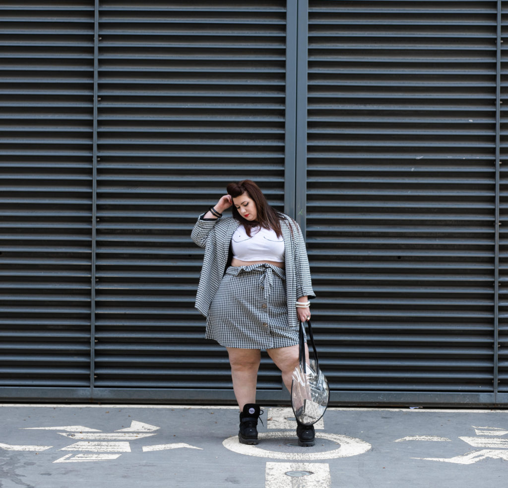 ensemble pied de coq grande taille plus size curvy girl blogger lyon skirt yours clothing