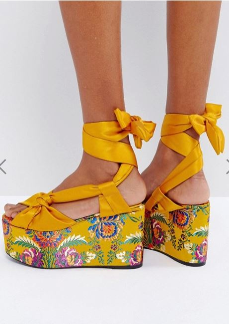 chaussures plateforme jaune mango