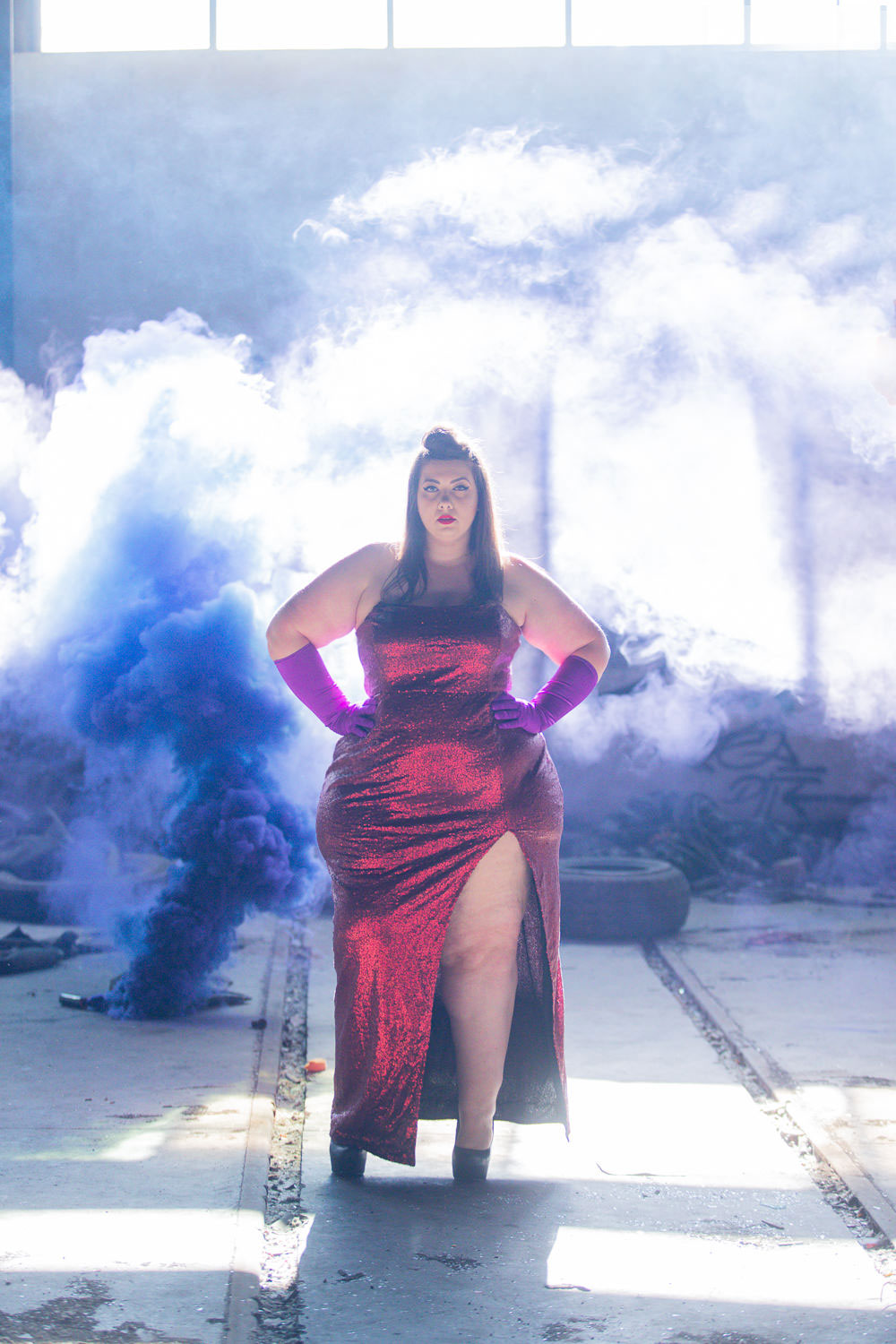 jessica rabbit plus size halloween costume red sequins dress curvy girl blogger mode grande taille sexy fat bbw