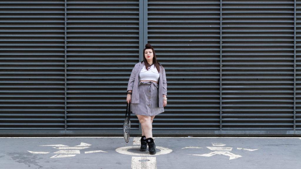 ensemble pied de coq grande taille plus size curvy girl blogger lyon skirt yours clothing